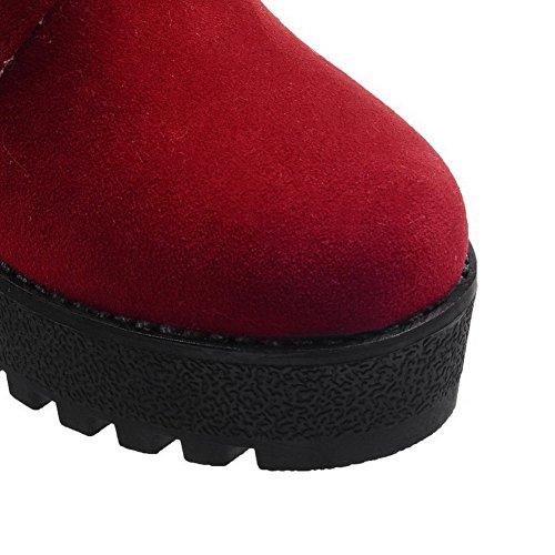 Allhqfashion Dames Ronde Gesloten Neus Lage Top Hoge Hakken Effen Geïmiteerd Suède Snow-boots Rood
