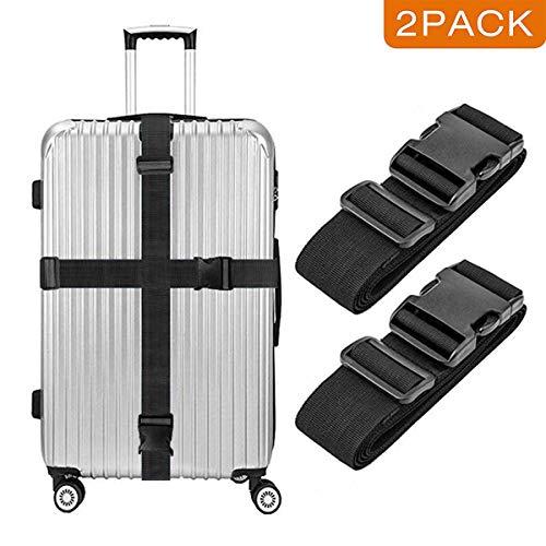 [2 Packs] Luggage Suitcase Straps, elloLife Upgraded Widened Adjustable(180cm x 5cm) Suitcase Belts for Travel Security, Handbags, Luggage, Totes, Briefcases, Carts, Wheeled Luggage etc.