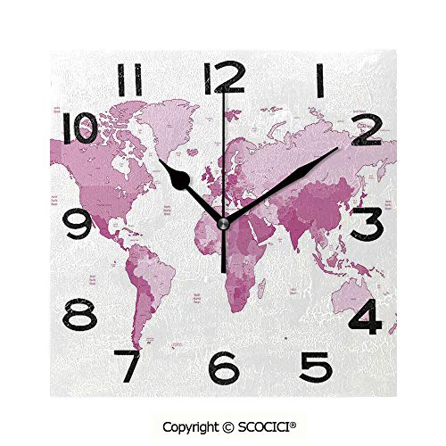 SCOCICI 8 Inch Square Face Silent Wall Clock Cute World Map Continents Island Land Pacific Atlas Europe America Africa Decorative Unique Contemporary Home and Office Decor
