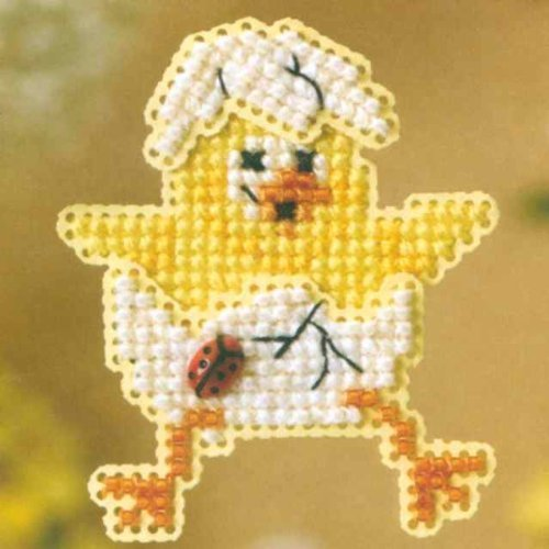 Spring Chick Beaded Counted Cross Stitch Ornament Kit Mill Hill 2008 Spring Bouquet MH18-8101