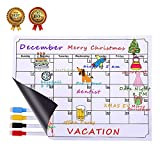 Dry Erase Calendar Board, Albabara Magnetic Calendar Whiteboard Planner for Refrigerator, Reusable Monthly Chalkboard, Weekly Message Calendars With 4 Fine Magnetic Tip Markers