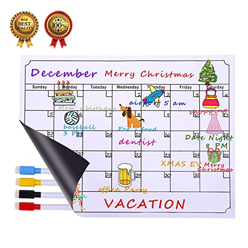Perpetual Calendar Weekly (Dry Erase Calendar Board, Albabara Magnetic Calendar Whiteboard Planner for Refrigerator, Reusable Monthly Chalkboard, Weekly Message Calendars With 4 Fine Magnetic Tip Markers)