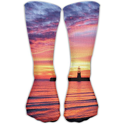 fan products of Girls Sunset Lighthouse Soft Stockings Sports Crew Socks