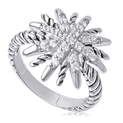 Sterling Silver and Cubic Zirconia Starburst Rope Ring, Size 7