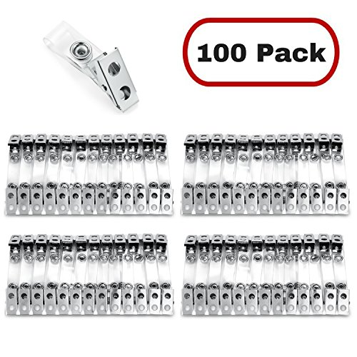MIFFLIN Metal Badge Clips with Clear Vinyl Straps (100 Pack)