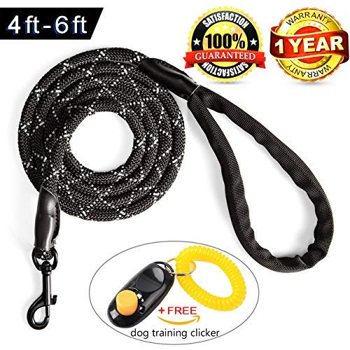 Furrytail Club 4 ft Reflective Dog Leash - Heavy Duty Leashes for Medium to XLarge Dogs - Bite Proof Rope Dog Leash - Shock Absorbtion Handle for The Strongest Pulling Dogs(Correa para Perros)