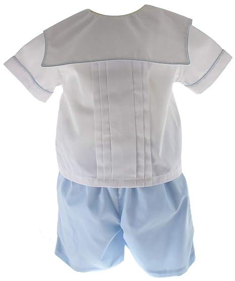 9508470a82 Boys Christening Outfit Blue White Dressy Short Set Square Monogram Collar  12M