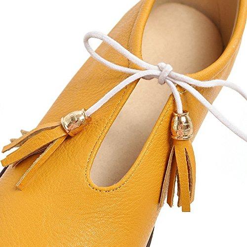 Form gefütterte runde Schuhe Damen Absatz Pumps gelb Odomolor Pu wXq7ItH