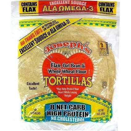 Josephs Bakery Joseph tortilla baja en carbohidratos: lino, salvado de avena y trigo integral