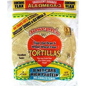 Joseph's Low Carb Tortilla: Flax, Oat Bran and Whole Wheat Flour Tortillas, 8 Inch, 6 Tortillas