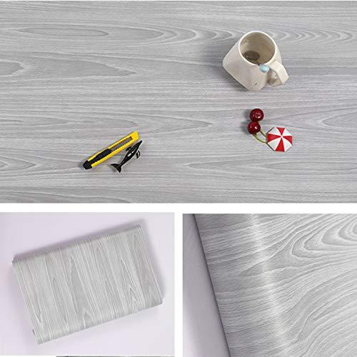 Papier adhesif aspect bois pour comptoir, cuisine, armoires, mur, table, porte, bureau (gris, largeur de 45cm sur une longueur de 10m)