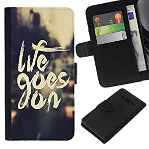 KLONGSHOP // Tirón de la caja Cartera de cuero con ranuras para tarjetas - Goes On Cita Vignette motivación - Samsung Galaxy A3 //