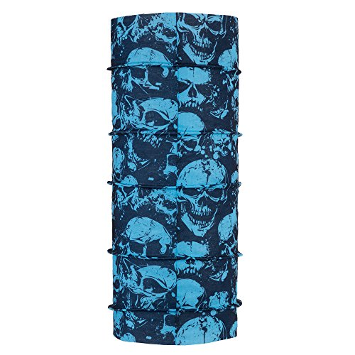 Autofy Unisex Angry Skull Print Lycra Headwrap for Bikes (Black and Blue, Free Size)