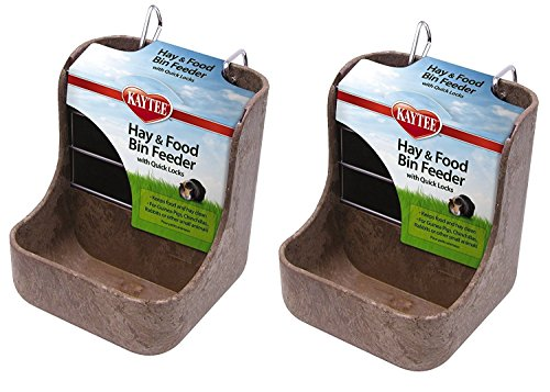 (Kaytee Hay n Food Bin Feeder with Quick Locks (2-Pack) (Colors May Vary))