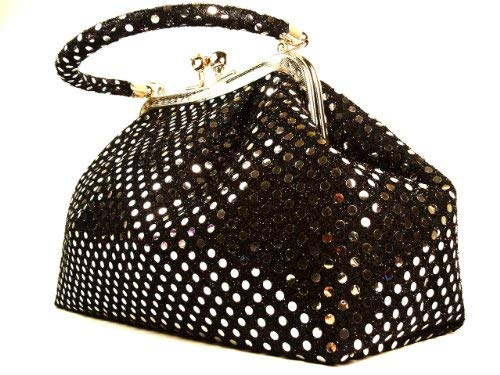 Handbag Angel present Eve metallic black dot by WiseGloves purse clutch bag tote handbag - Volcom Ladies Purse