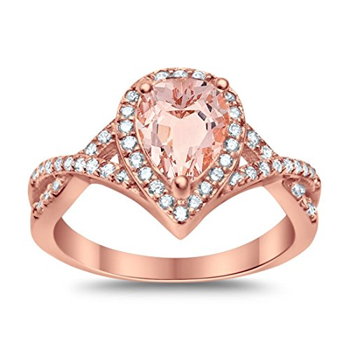 Blue Apple Co. Halo Teardrop Wedding Promise Ring Infinity Accent Round Simulated Morganite Rose Tone 925 Sterling Silver, Size-8
