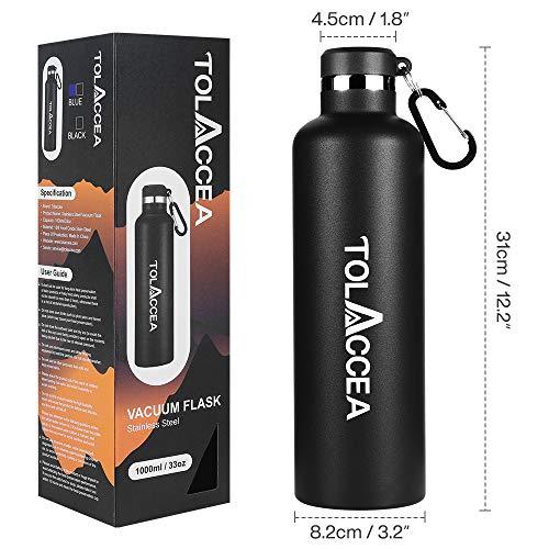 Tolaccea Trinkflasche Edelstahl 1L 33oz Thermosflasche BPA Frei Langlebige Double Walled Auslaufsicher Wasserflasche with Metallhaken für Sport Camping Ausflug Fahrradfahren Schwarz