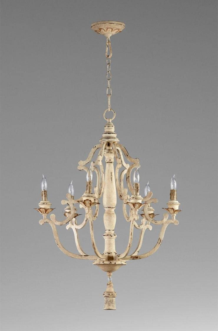 Kathy Kuo Home Maison French Country Antique White 6 Light Chandelier