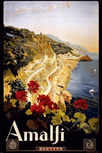 ITALY VINTAGE TRAVEL POSTER Amalfi 1910 - 1920 RARE HOT NEW 24x36