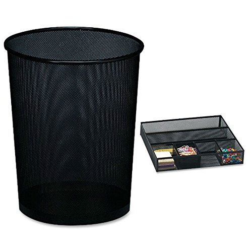 Combo of Rolodex Mesh Round Wastebasket Recycling Trash Can Waste Receptacles Container with High Quality Rolodex Mesh Collection Drawer Organizer, Black - Free Shipping!