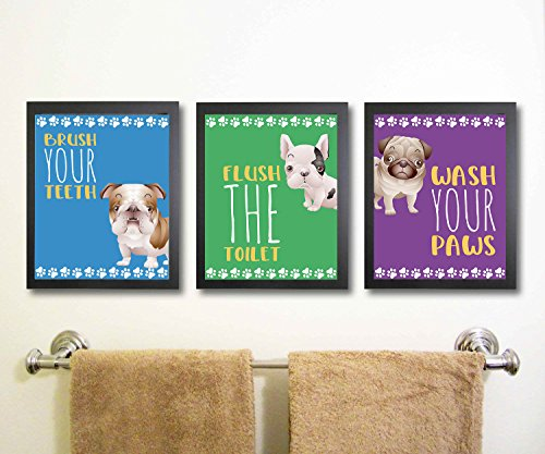 Silly Goose Gifts Puppy Dog Themed Bathroom Wall Art Print Decoration (Set of 3) Brush Teeth Flush Wash Hands