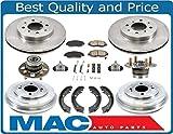 01-05 Civic Rotors Ceramic Pads Drum Brake Shoes Springs Wheel Cyl Bearings 11Pc