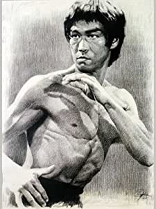 """Bruce Lee Sketch Portrait, Charcoal Graphite Pencil Drawing Poster - 11"""" x 14"""" Print (WU119)"""
