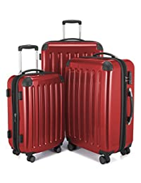HAUPTSTADTKOFFER Alex Double Wheel Luggage Set 18 different colors Suitcase Set Size (20'24'28') Trolley TSA Red