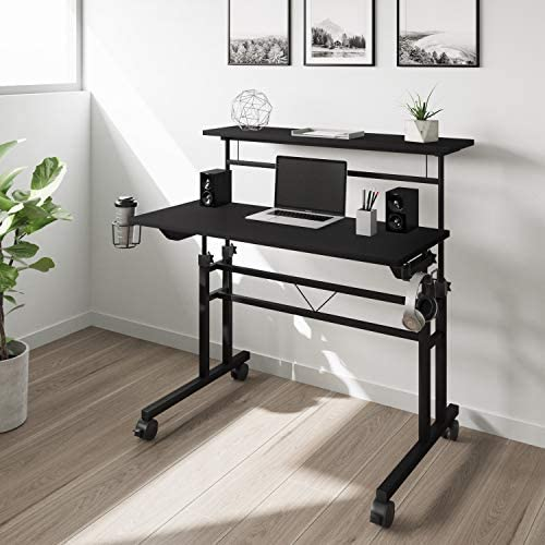 Techni Mobili Rolling Writing Height Adjustable Desktop and Moveable Shelf - a good cheap modern office desk
