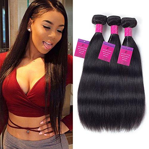 ATLAN STAR Brazilian Hair Straight Weave 12 14 16 Inches 3 Bundles 7A 100% Unprocessed Virgin Human Hair Natural Black - Discount Black Coupons Friday
