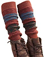 Women Lady Fashion Leg Warmers Knit legging, rhombus grid,orange