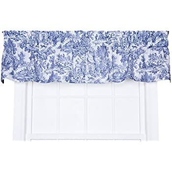 Amazon Com Victoria Park Toile Tailored Valence Window Curtain Blue