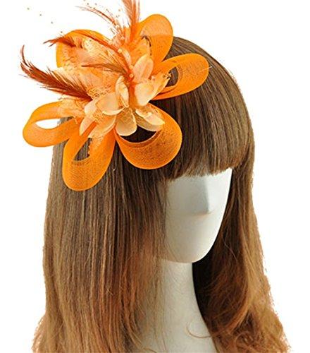 [Coolr Fascinator Hair Clip Cocktail Headwear Flower Bridal Headpieces (Orange )] (Orange Hat Costume)