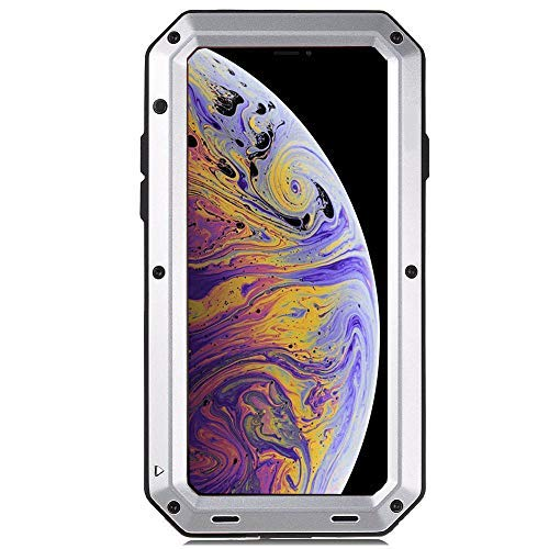 iPhone XR Case, CarterLily Full Body Shockproof Dustproof Waterproof Aluminum Alloy Metal Gorilla Glass Cover Case for Apple iPhone XR 6.1 inch (Silver)