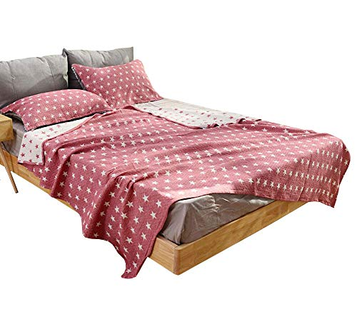Conditioning Bath - LAGHCAT Boys & Girls Cotton Muslin Quilt with Stars Thin Summer Comforter, Cotton Gauze Throw Blanket, Lightweight Air Conditioning Bed Blankets for Adult/Kid's Bedroom (Red, 80