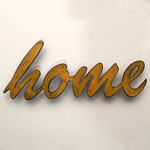 16 inch long 'home' metal wall art word - Handmade - Choose your patina color