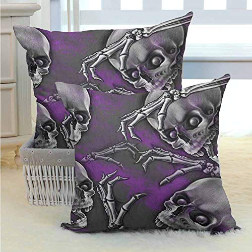 Big Boned Skeleton (Skull Standard Pillowcases Scary Creepy Spooky Happy Smiling Skeleton with Boned Hand Artwork Print Soft Soild Decorative for Bedroom Living Room Sofa Home Decor 2PCS Purple Grey and Black)