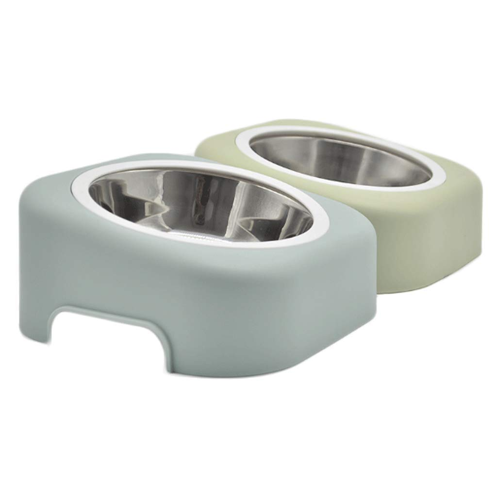 Green+bluee Octave Angle Pet Bowl Predect Neck Food Double Bowl (color   Green+bluee)