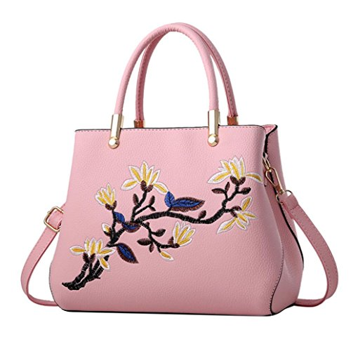 Pink Bag Bags Women Ladies Crossbody KONFA Shoulder Messenger Leather Floral Elegant Tote pxPqA1