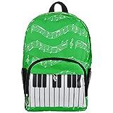 Oxford Music Note Backpack for School Stylish Art Bookbags Travel Shoulder Bag (4 Color) (Keyboard green) For Sale