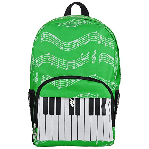 Price comparison product image PUNK Oxford Music Note Backpack for School Stylish Art Bookbags Travel Shoulder Bag (4 Color) (Keyboard Green)