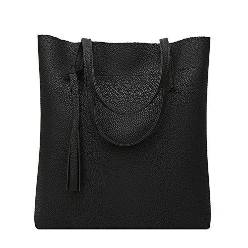 Anne - Bolso de tela para mujer negro gris negro