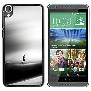 PC/Aluminum Funda Carcasa protectora para HTC Desire 820 Sad Dune Desert Man Wind Art Black / JUSTGO PHONE PROTECTOR