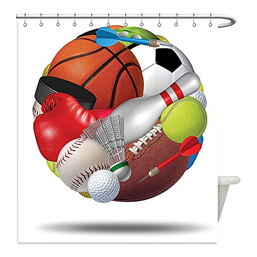 Liguo88 Custom Waterproof Bathroom Shower Curtain Polyester Sports Decor Soccer Ball Combined With Other Sports Equipment Universal Hockey Darts Boxing Fun Artful Work Decor Multi Decorative bathro