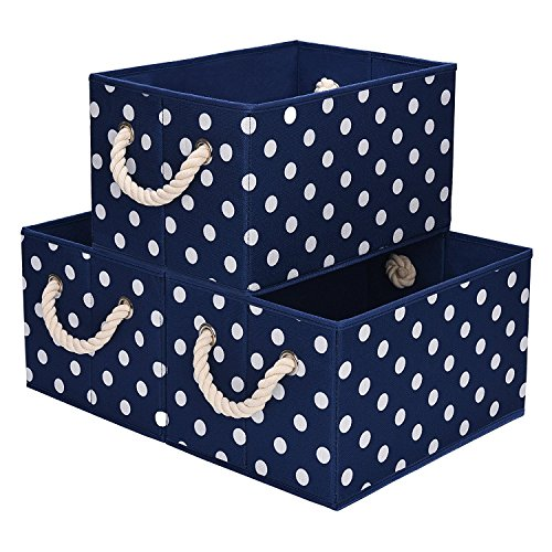 5 gal.StorageWorks Polyester Storage Bin with Strong Cotton Rope Handle, Blue, White Dot Style, Large, 3-Pack