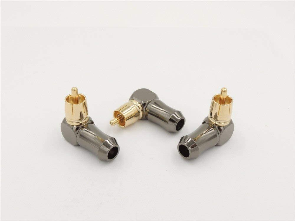 LINKICH 50pcs New Gold Plated Right Angle RCA Male Plug Audio Video Connector