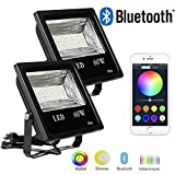 Hypergiant 2 Pack 60W Bluetooth Led RGBW Flood Lights, Outdoor Color Changing Floodlight with Remote APP Control, IP66 Waterproof Multi Colors Multi Modes Dimmable Wall Washer Light, Stage Lighting
