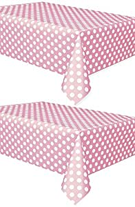 2 pack polka dot plastic tablecloth 108 x 54