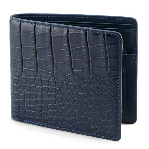 Lethnic Mens Bifold Wallet features Horizontal Credit Card Style, Made from Crocodile Embossed Cowhide Genuine Leather with RFID Blocking, Super Thin and Slim for Pockets, Navy Horizontal