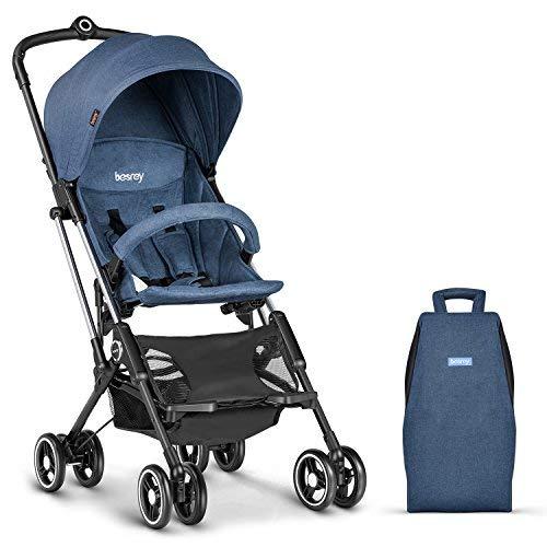 Besrey Silla de Paseo de Bebé Carrito de Bebé Cochecito LIGERA Plegable Mano Avión Azul